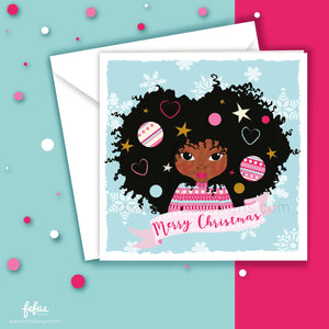 Decorated Afro Girls Christmas Card V2