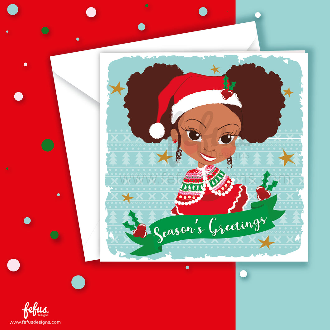 Afro Puffs Girls Christmas Card V1