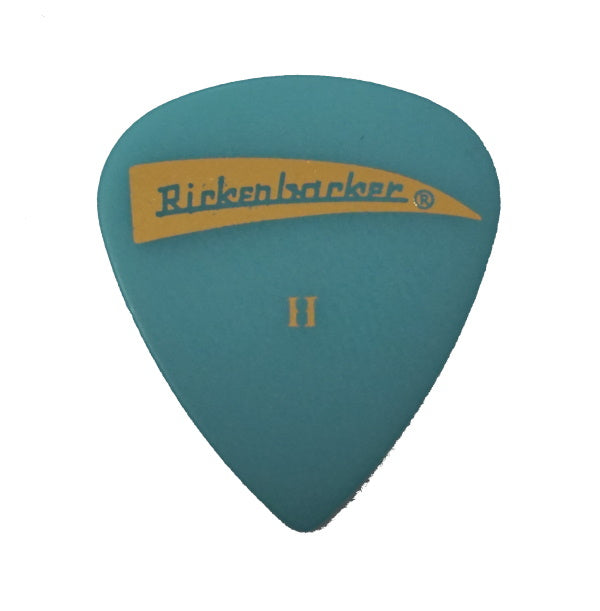 Collectible Rickenbacker pick featuring TRC Light Blue with Gold Foil imprint