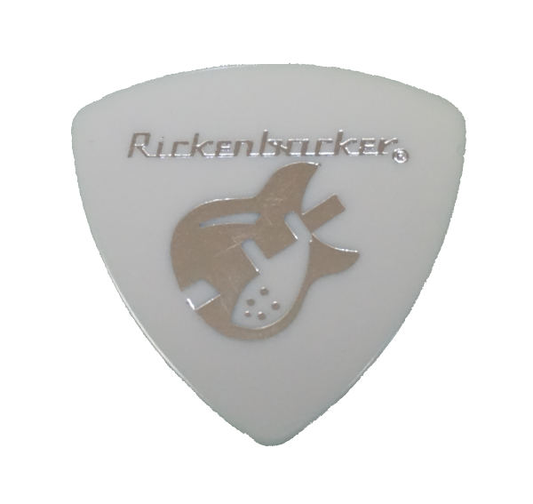 Collectible Rickenbacker pick featuring 330 White with Silver Foil imprint 1.0mm