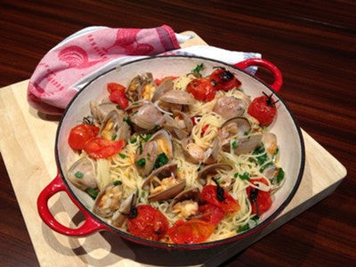 "Spaghetti  ""Vongole"" with Cloudy Bay Surf Clams by John Lethlean"