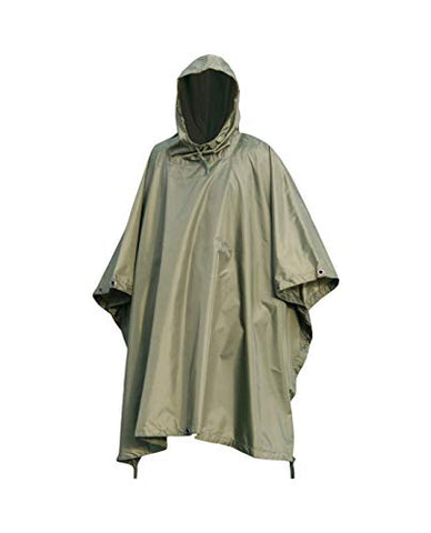 Mil-Tec Multi-Purpose Wet Weather Poncho Polyester Ripstop - OD Green