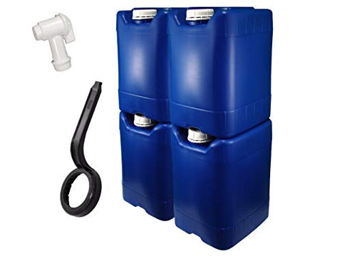 API Kirk Containers 5 Gallon Samson Stackers, Blue, 4 Pack (20 Gallons), Emergency Water Storage Kit - New! - Clean! - Boxed! - Kit Includes One Spigot and Cap Wrench