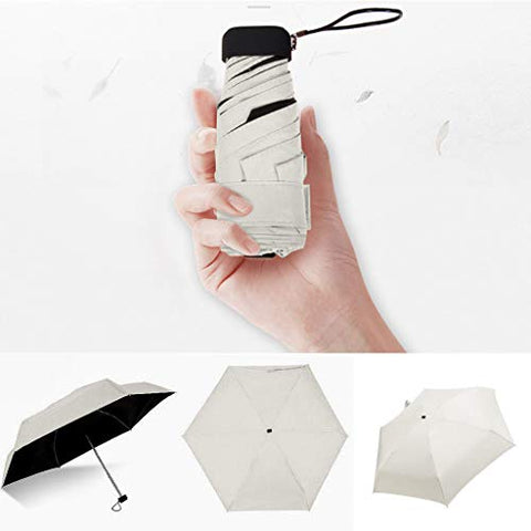 Mini Portable Sun&Rain Lightweight Windproof Umbrella - Compact Parasol Folding Outdoor Travel Mini Sun Umbrella for Men Women Kids Multiple Colors (Beige)
