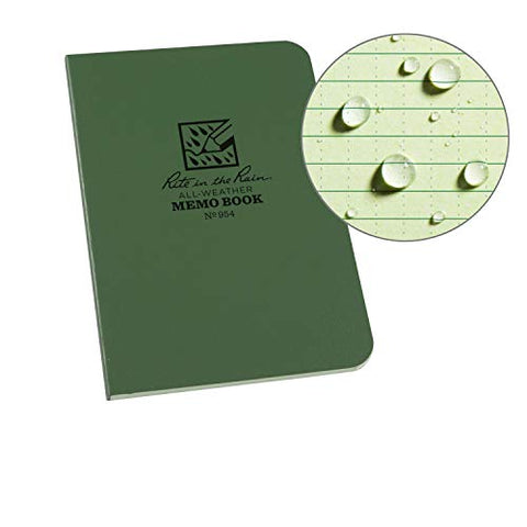 "Rite In The Rain Weatherproof Soft Cover Pocket Notebook, 3 1/2"" x 5"", Green Cover, Universal Pattern (No. 954)"