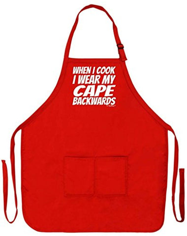When I Cook I Wear My Cape Backwards Gag Gift Funny Apron for Kitchen BBQ Barbecue Cooking Baking Grilling Bacon Two Pocket Apron for Super Chef Home Gourmet BBQ Competition Apron Red
