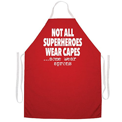"Attitude Aprons Fully Adjustable ""Not All Superheros Wear Capes, Some Wear Aprons"" Apron-Red"