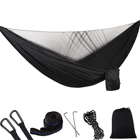 Yemenegr Portable Double Hammock with Mosquito Net Lightweight Backpacking Hammock Tent Camping Travel Hammock with Net Camping Tool Kit