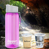 joypur Portable Filtered Water Bottle - Emergency Water Purifier with 4-Stage Integrated Filter Straw for Camping Hiking Backpacking - Pink