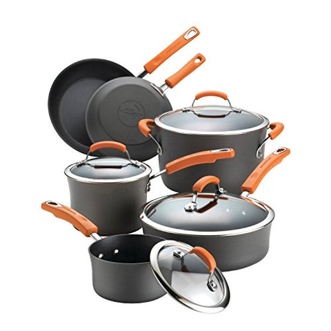 Rachael Ray 87375 Brights Hard Anodized Nonstick Cookware Pots and Pans Set, 10 Piece, Gray with Orange Handles