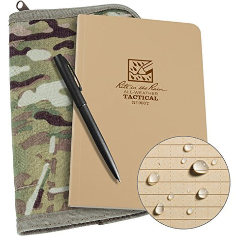 "Rite in the Rain Weatherproof Tactical Field Kit: MultiCam CORDURA Fabric Cover, 4 5/8"" x 7 1/4"" Tan Tactical Notebook, Weatherproof Pen (No. 980M-KIT)"