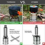 TOMSHOO Camping Stove Camp Wood Stove Portable Foldable Stainless Steel Burning Backpacking Stove for Outdoor Hiking Picnic BBQ-Upgraded Version