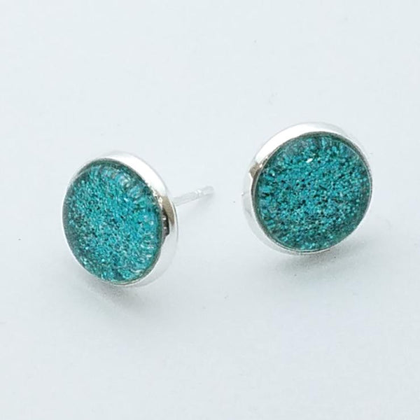 Shimmer Teal Stud Earrings