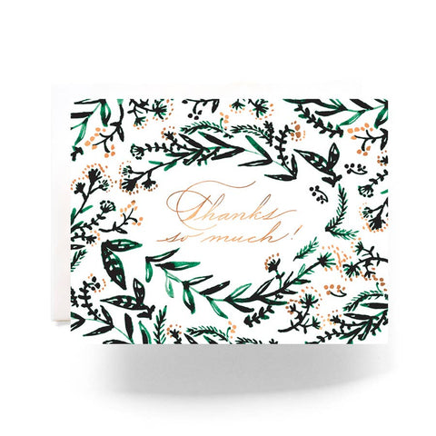 Emerald Wreath Thank You Card