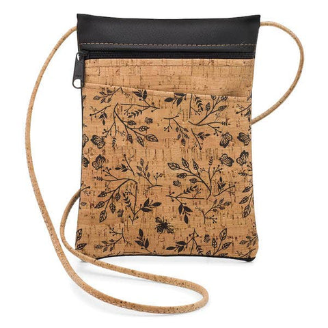 Black Floral Mini Cross Body Bag