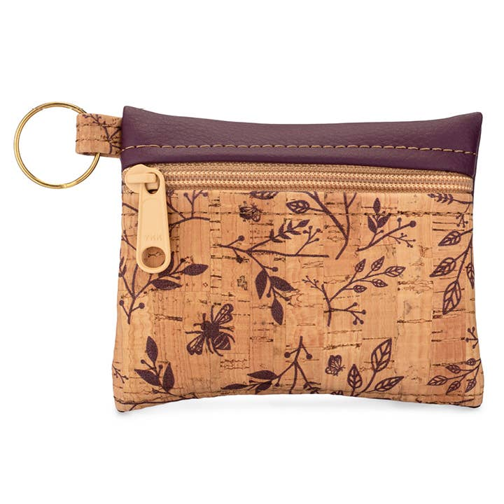 Wine Floral Key Chain Pouch