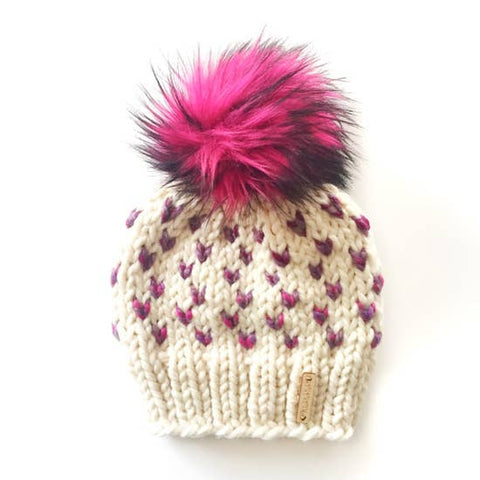 Tiny Hearts Faux Fur Pom-Pom Beanie in Hints of Astroland