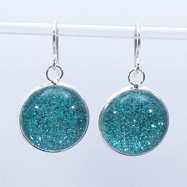 Shimmer Teal Drop Earrings