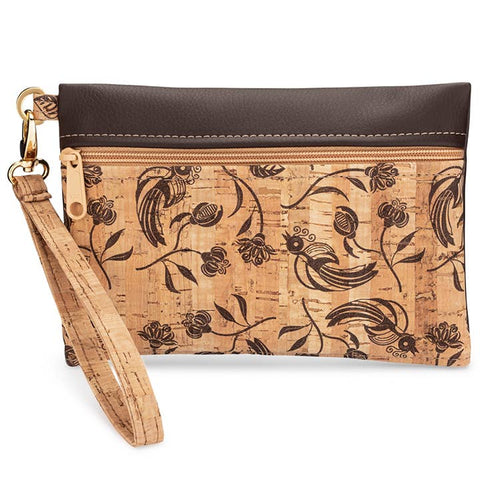 Brown Whistle Print Wristlet Handbag