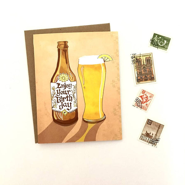 Enjoy Beer Birthday Card