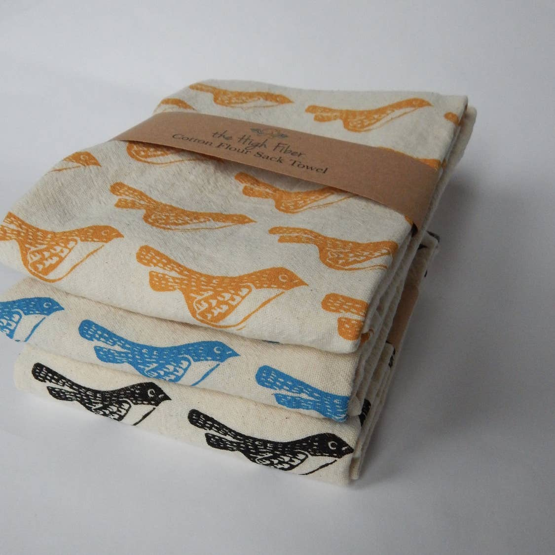 Gold Birds Tea Towel