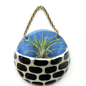 Ceramic Planter Pocket Blue/Black Lines