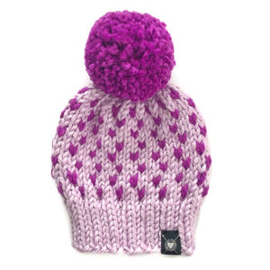 Tiny Hearts Pom-Pom Beanie in Lolli