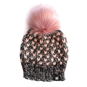 Tiny Hearts Faux Fur Beanie in Blushing Rosé