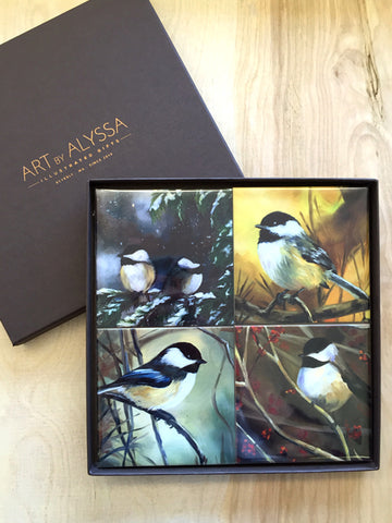 Chickadees Coaster Set