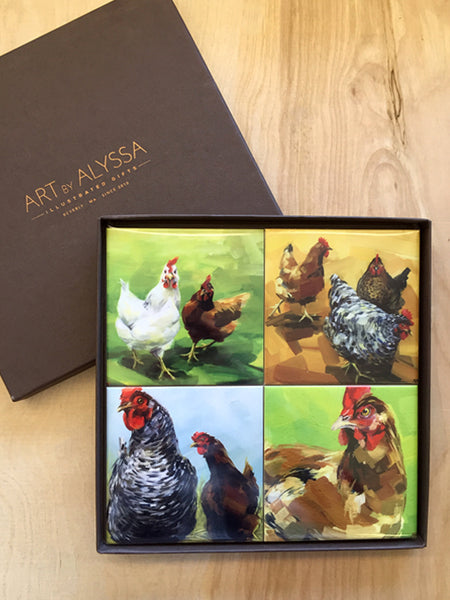 Chickens Coaster Set