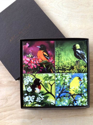 Flower Power Birds Coaster Set