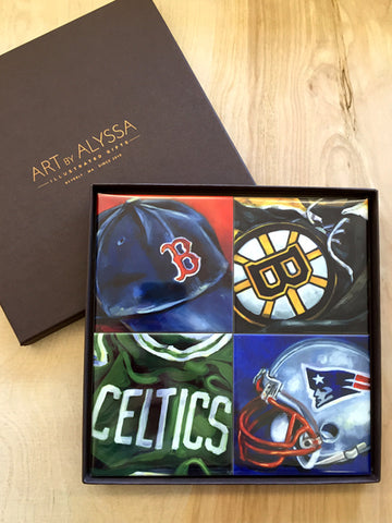 New England Sports Coaster Set
