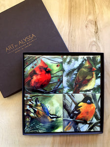 Winter Birds Coaster Set