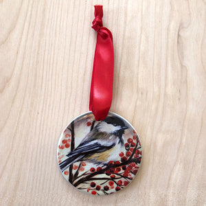 Very Berry Chickadee Ornament