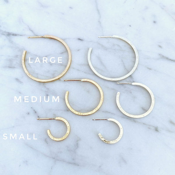 Large Silver Thin Line Hoops