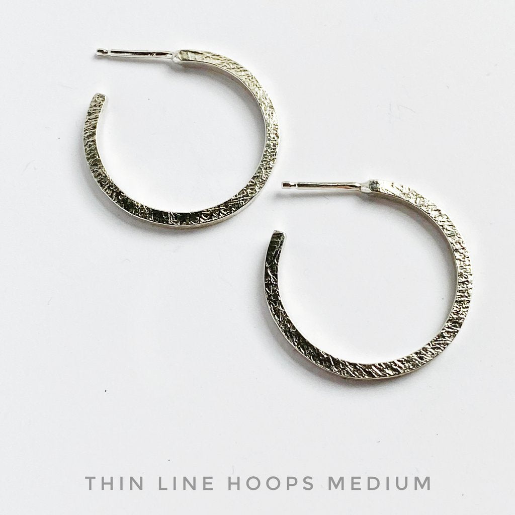 Medium Sterling Silver Thin Line Hoops
