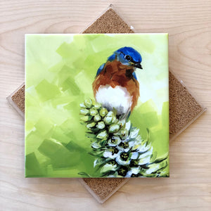 Bluebird on Flower Trivet