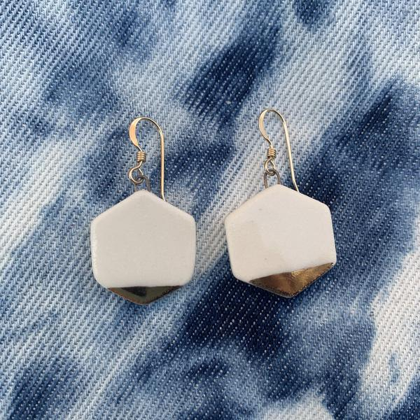 Hexagon Earrings Gold-White