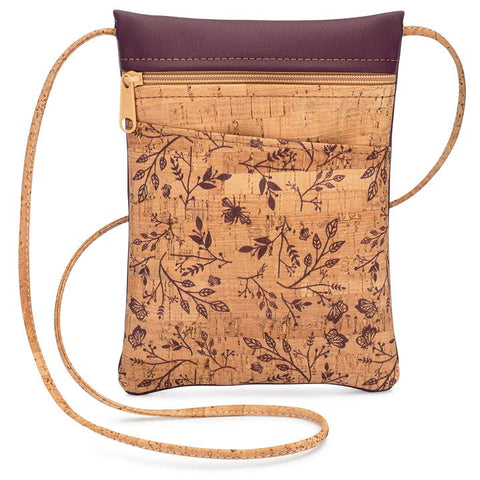 Wine Floral Mini Cross Body Bag