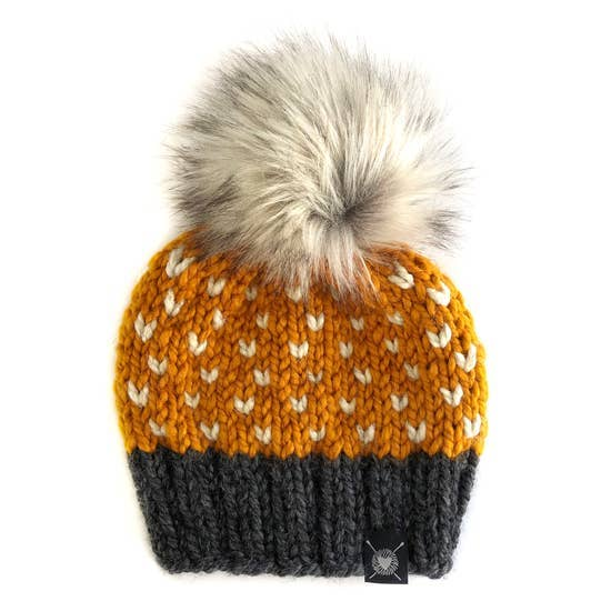 Tiny Hearts Faux Fur Pom-Pom Beanie in Wild Rumpus