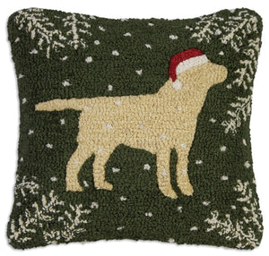Christmas Yellow Lab Pillow 18 x 18""