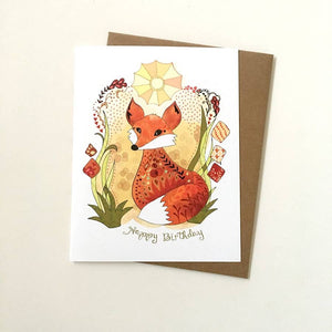 Sun Fox Birthday Card