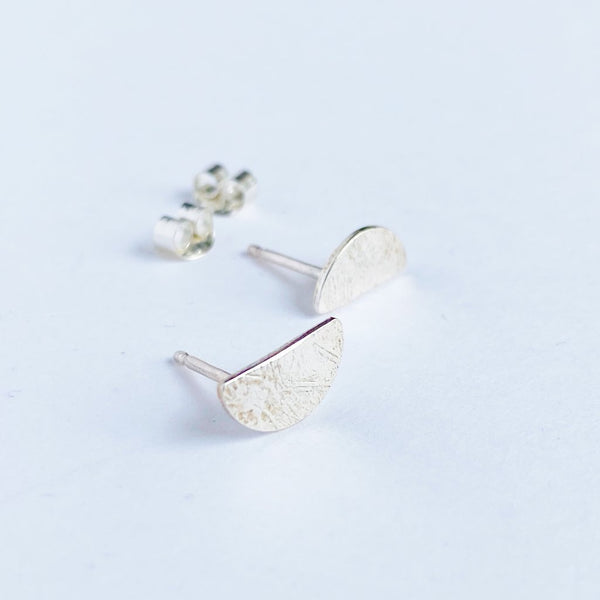 Sterling Silver Half Moon Studs