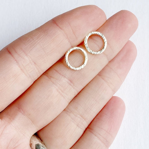 Gold Mini Halo Stud Earrings