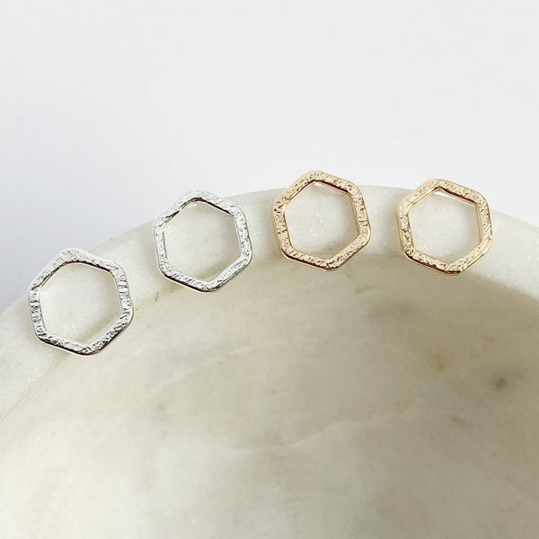 Silver Tiny Hexagon Stud Earrings