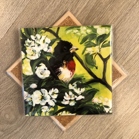 Floral Grosbeak Trivet