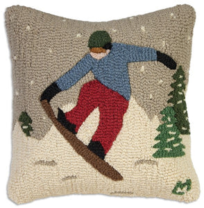 Snowboarder Pillow 18 x 18""