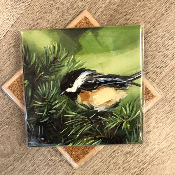 Chickadee in Pine Trivet