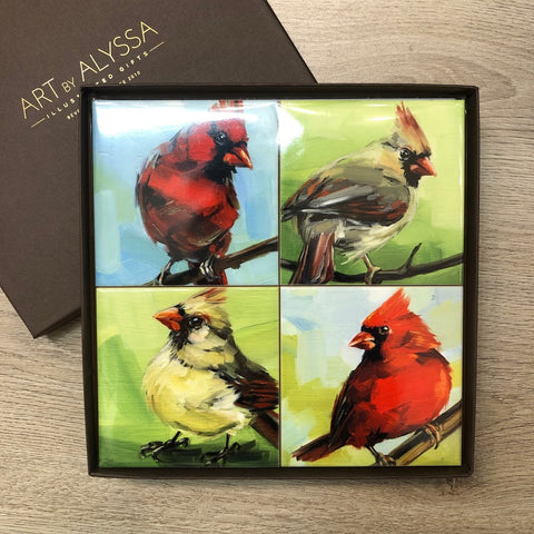 Summer Cardinal Coaster Set