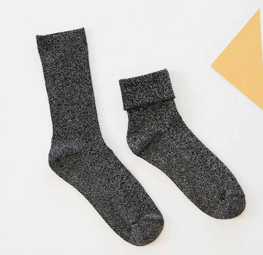 Shiny Socks - Black Muze